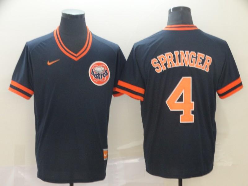 Astros 4 George Springer Black Throwback Jersey