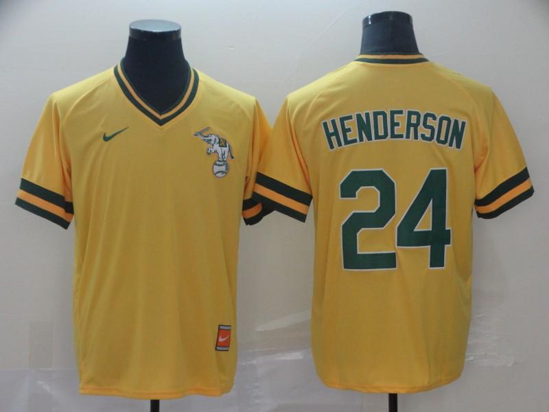 Athletics 24 Rickey Henderson Yellow Throwback Jersey