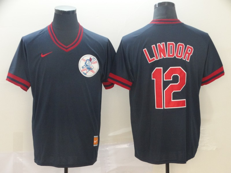 Indians 12 Francisco Lindor Black Throwback Jersey