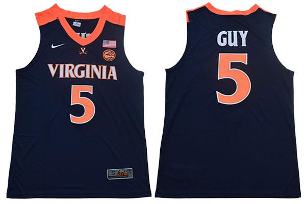 fd6d5f71e37 Virginia Cavaliers 5 Kyle Guy Navy College Basketball Jersey