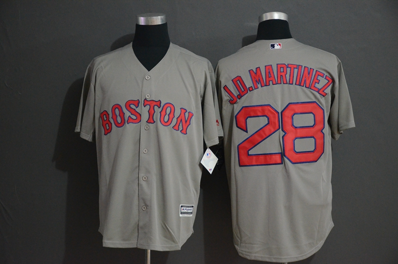 Red Sox 28 J.D. Martinez Gray Cool Base Jersey