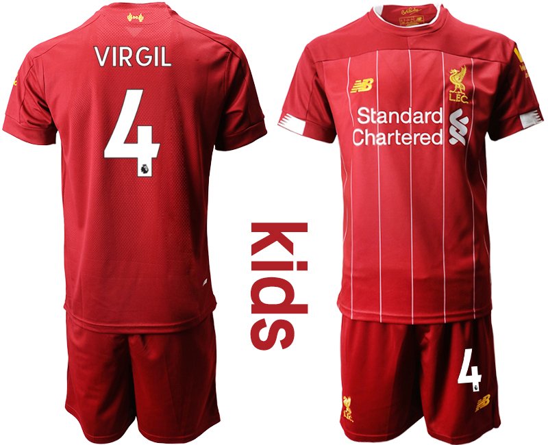 2019-20 Liverpool 4 VIRGIL Youth Home Soccer Jersey