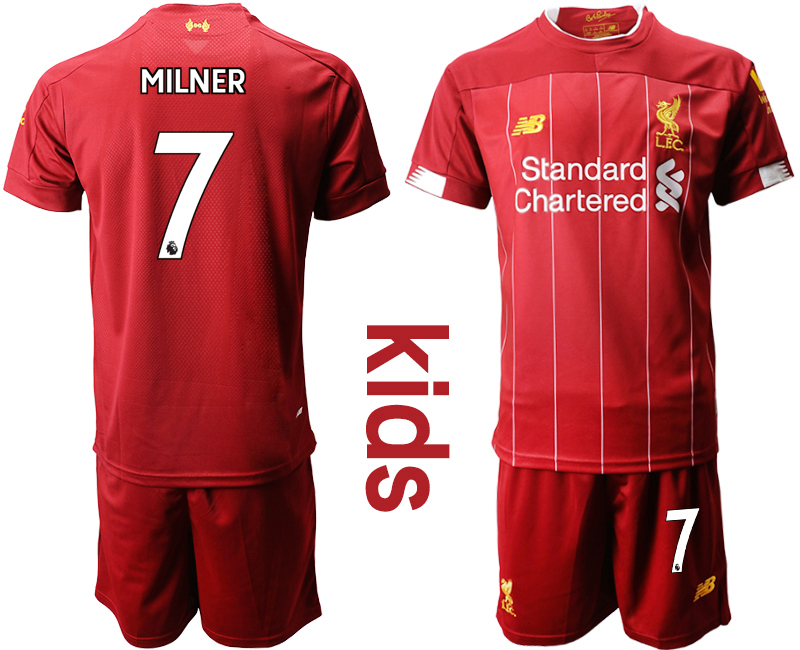2019-20 Liverpool 7 MILNER Youth Home Soccer Jersey