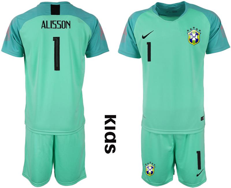 2019-20 Brazil 1 ALISSON Blue Youth Goalkeeper Soccer Jersey