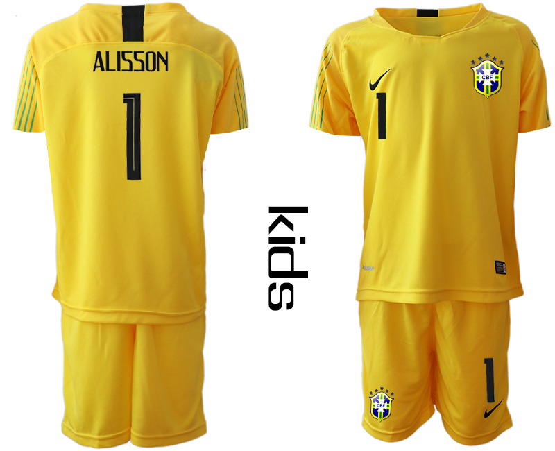 2019-20 Brazil 1 ALISSON Yellow Youth Goalkeeper Soccer Jersey