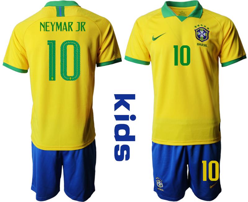 2019-20 Brazil 10 NEYMAR JR Youth Home Soccer Jersey