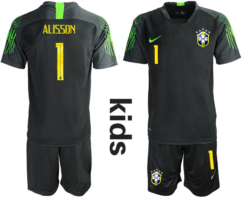 2019-20 Brazil Black 1 ALISSON Youth Goalkeeper Soccer Jersey