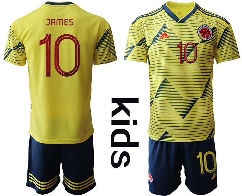 2019-20 Colombia 10 JAMES Youth Home Soccer Jersey