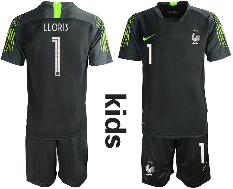 2019-20 France 1 LLORIS Black Youth Goalkeeper Soccer Jersey