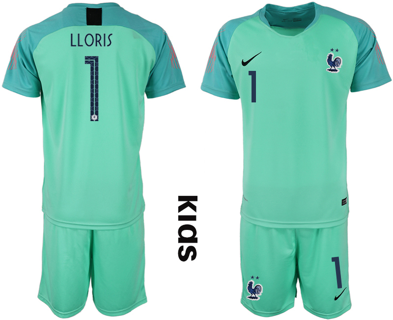 2019-20 France 1 LLORIS Blue Youth Goalkeeper Soccer Jersey