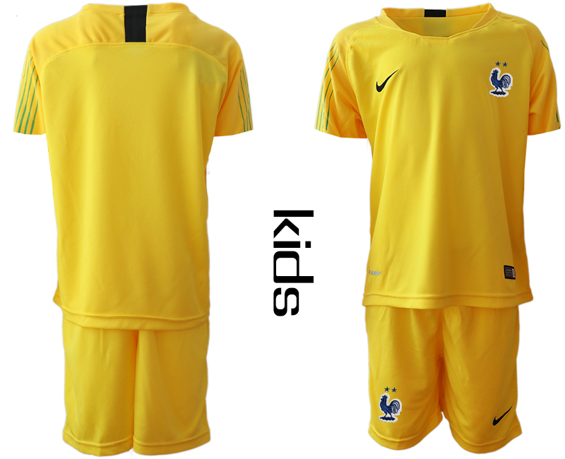 2019-20 France Yellow Youth Goalkeeper Soccer Jersey