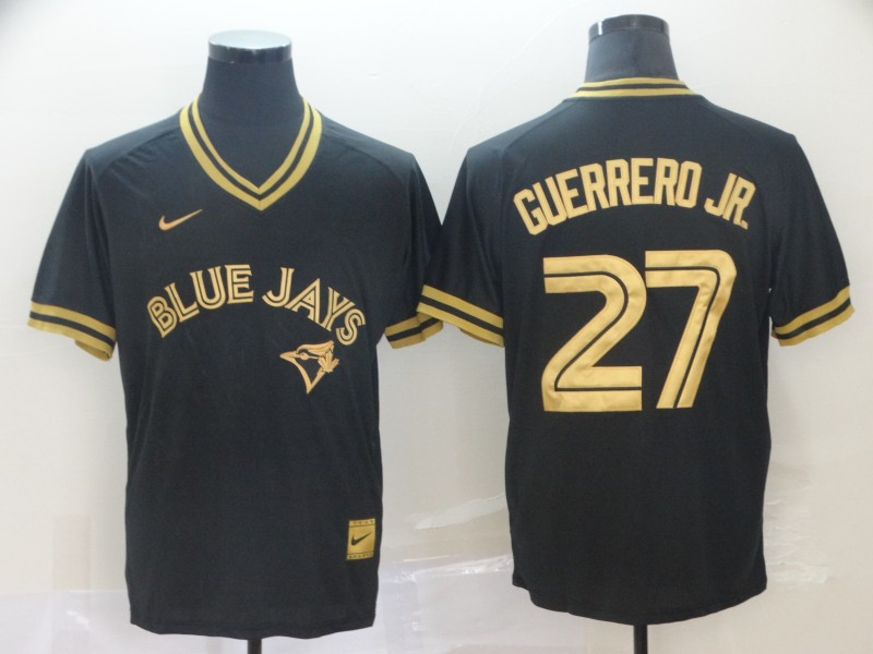 Blue Jays 27 Vladimir Guerrero Jr. Black Gold Nike Cooperstown Collection Legend V Neck Jersey