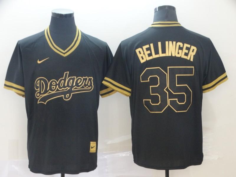 Dodgers 35 Cody Bellinger Black Gold Nike Cooperstown Collection Legend V Neck Jersey
