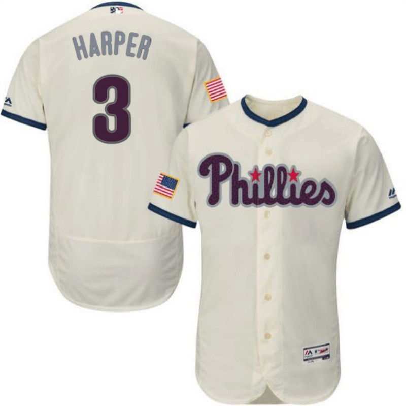 Phillies 3 Bryce Harper Cream Flexbase Jersey