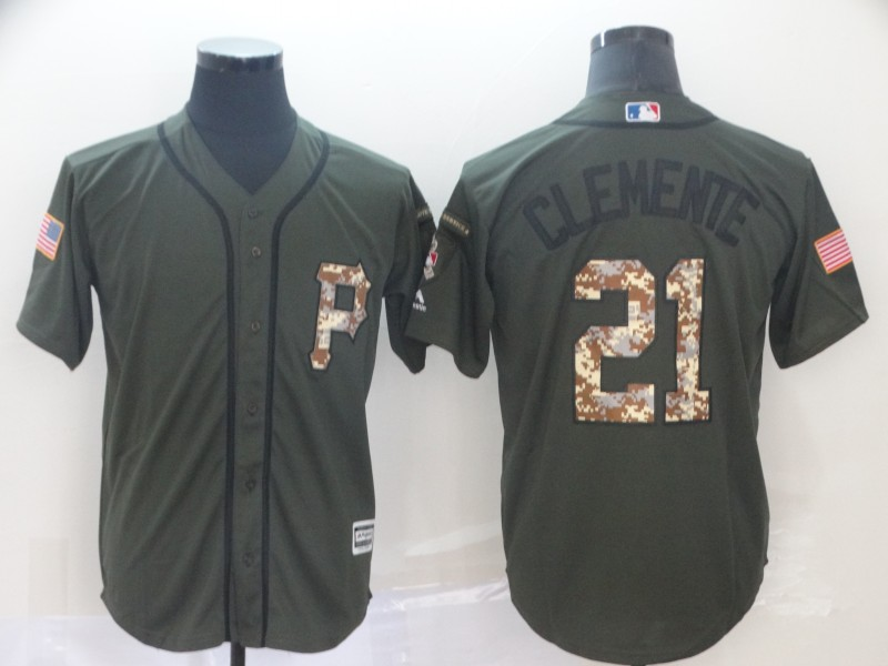 Pirates 21 Roberto Clemente Olive Camo Salute To Service Cool Base Jersey