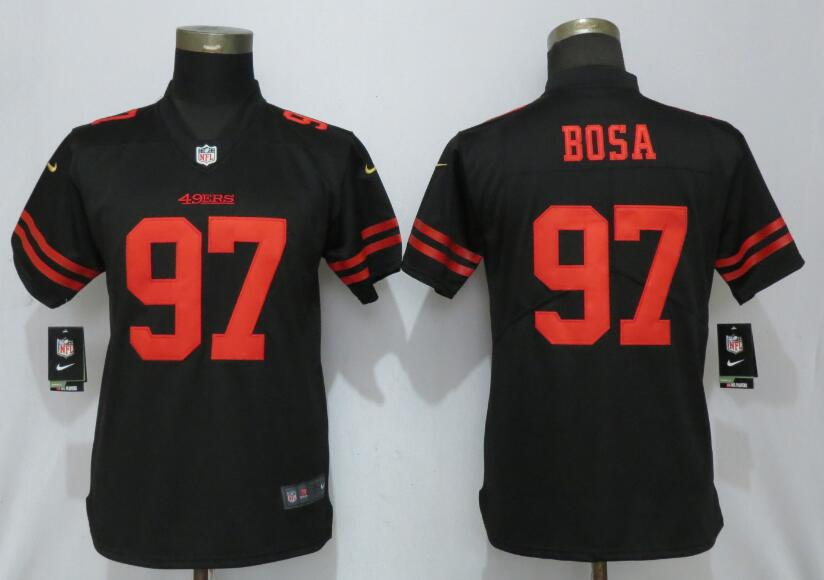 Nike 49ers 97 Nick Bosa Black Women 2019 NFL Draft First Round Pick Vapor Untouchable Limited Jersey