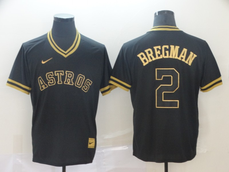 Astros 2 Alex Bregman Black Gold Nike Cooperstown Collection Legend V Neck Jersey