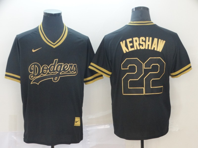 Dodgers 22 Clayton Kershaw Black Gold Nike Cooperstown Collection Legend V Neck Jersey