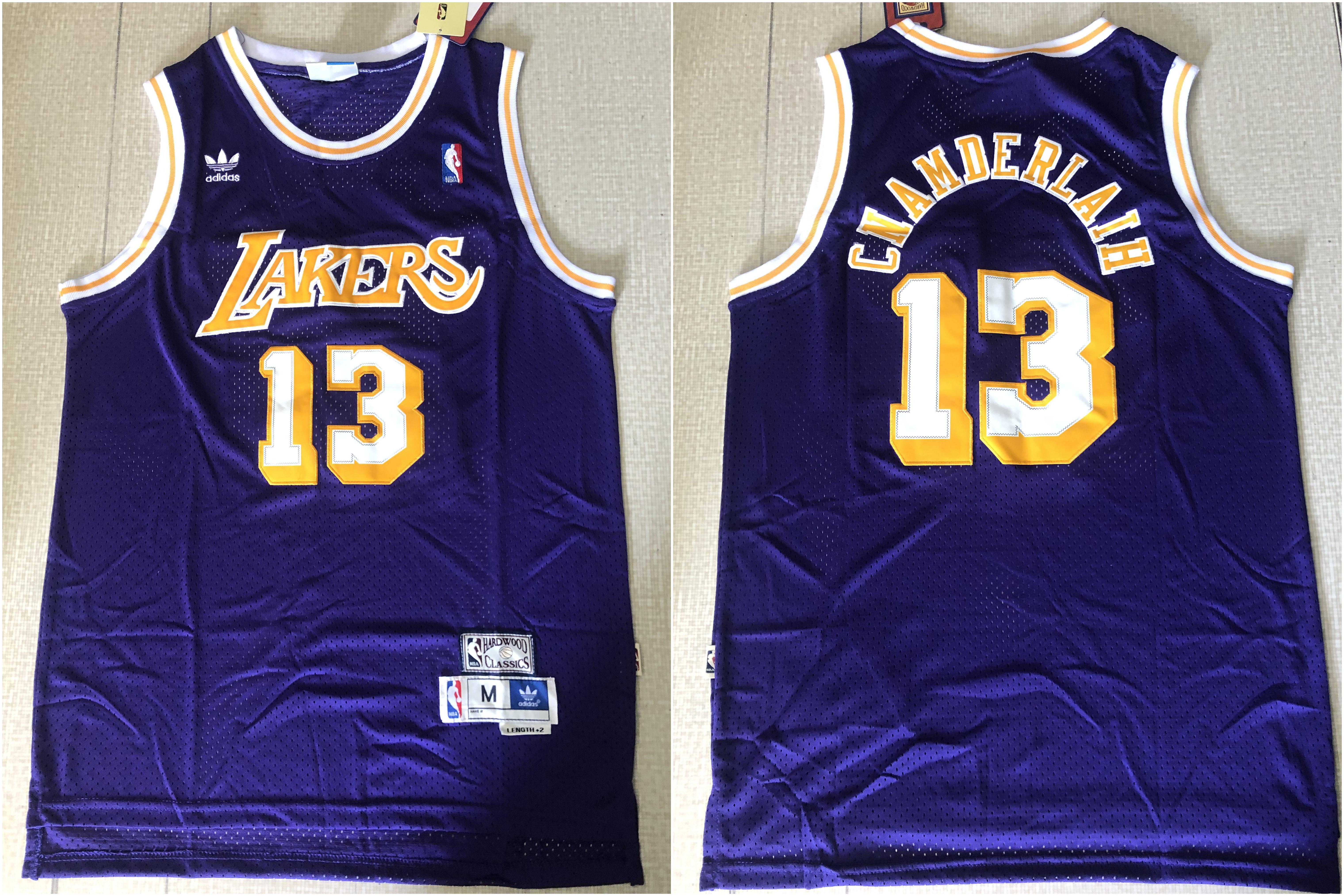 Lakers 13 Wilt Chamberlain Purple Hardwood Classics Jersey