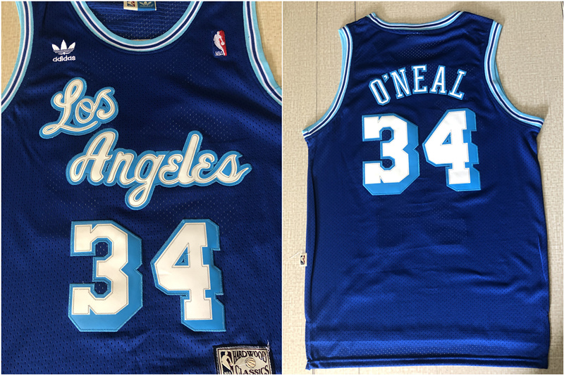 Lakers 34 Shaquille O'Neal Blue Hardwood Classics Mesh Jersey