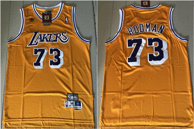 Lakers 73 Dennis Rodman Yellow Hardwood Classics Jersey