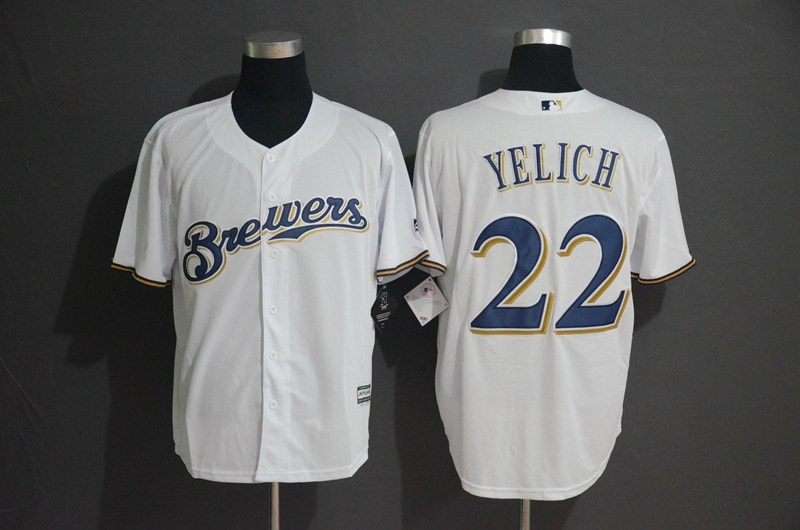 Brewers 22 Christian Yelich White Cool Base Jersey