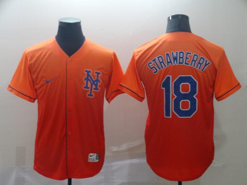 Mets 18 Darryl Strawberry Orange Drift Fashion Jersey