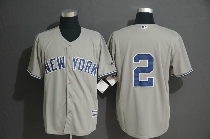 Yankees 2 Derek Jeter Gray Cool Base Jersey