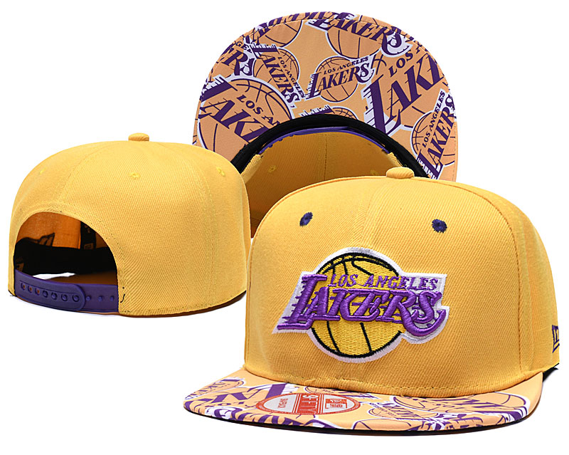 Lakers Team Logo Yellow Adjustable Hat TX