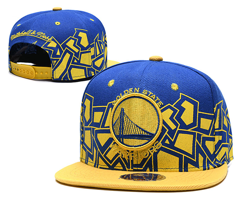 Warriors Team Logo Royal Yellow Mitchell & Ness Adjustable Hat TX