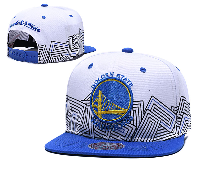 Warriors Team Logo White Royal Mitchell & Ness Adjustable Hat TX