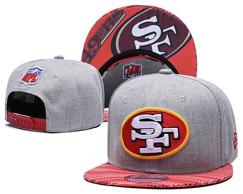 49ers Team Logo Gray Red Adjustable Hat TX