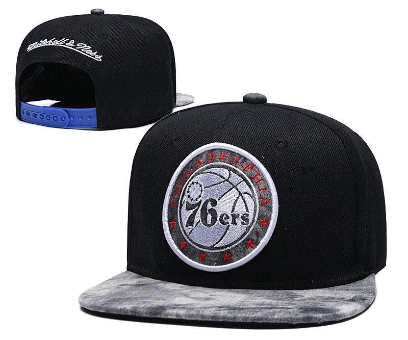 76ers Team Logo Black Mitchell & Ness Adjustable Hat TX