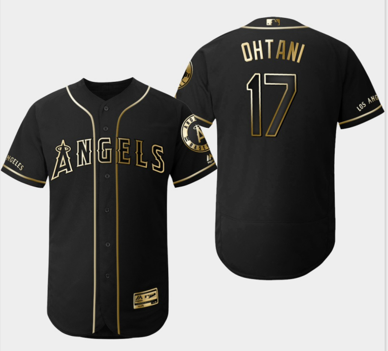 Angels 17 Shohei Ohtani Black Gold Flexbase Jersey