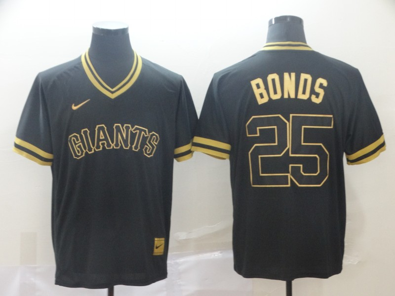 Giants 25 Barry Bonds Black Gold Nike Cooperstown Collection Legend V Neck Jersey