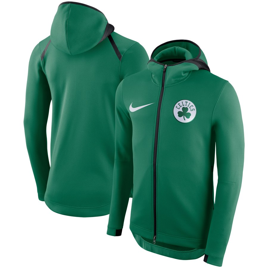 Boston Celtics Nike Showtime Therma Flex Performance Full Zip Hoodie Kelly Green