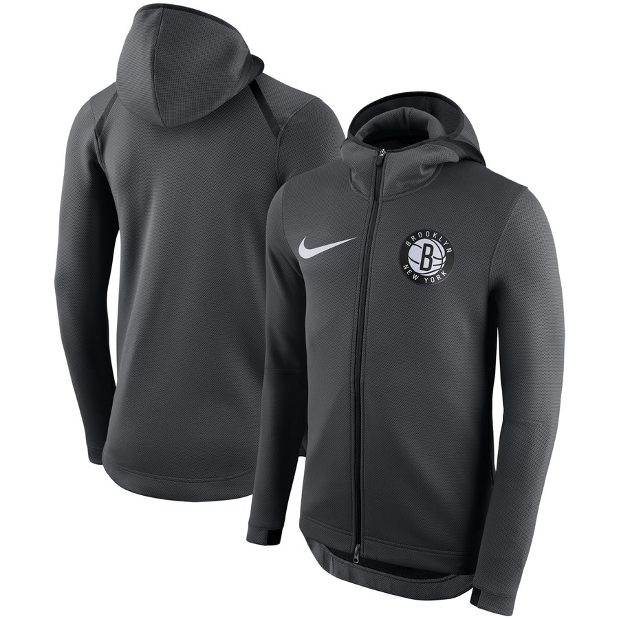 Brooklyn Nets Nike Showtime Therma Flex Performance Full Zip Hoodie Charcoal