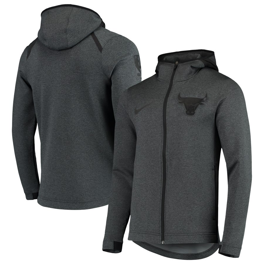 Chicago Bulls Nike Showtime Tonal Therma Flex Performance Full Zip Hoodie Black