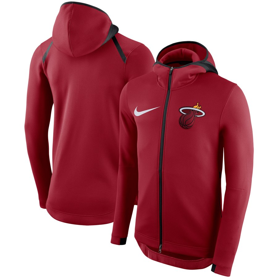 Miami Heat Nike Showtime Therma Flex Performance Full Zip Hoodie Red