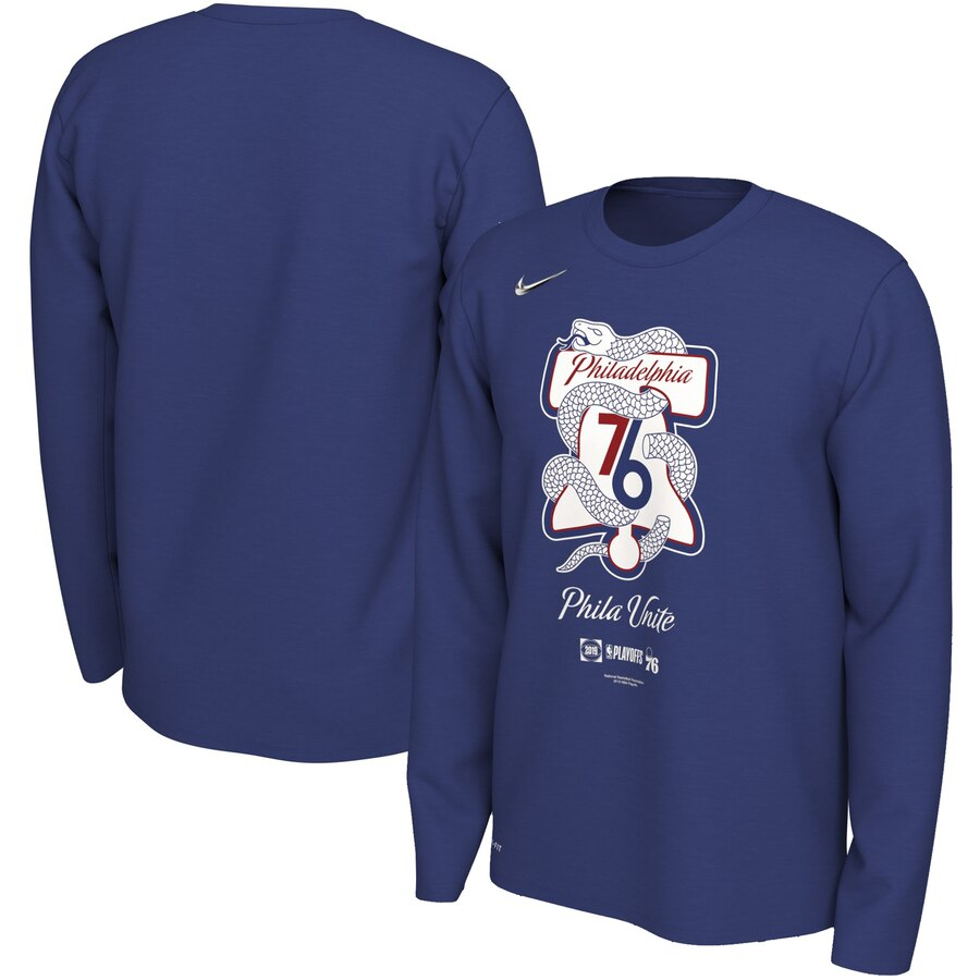 Philadelphia 76ers Nike 2019 NBA Playoffs Bound Team Mantra Dri FIT Long Sleeve T-Shirt Blue