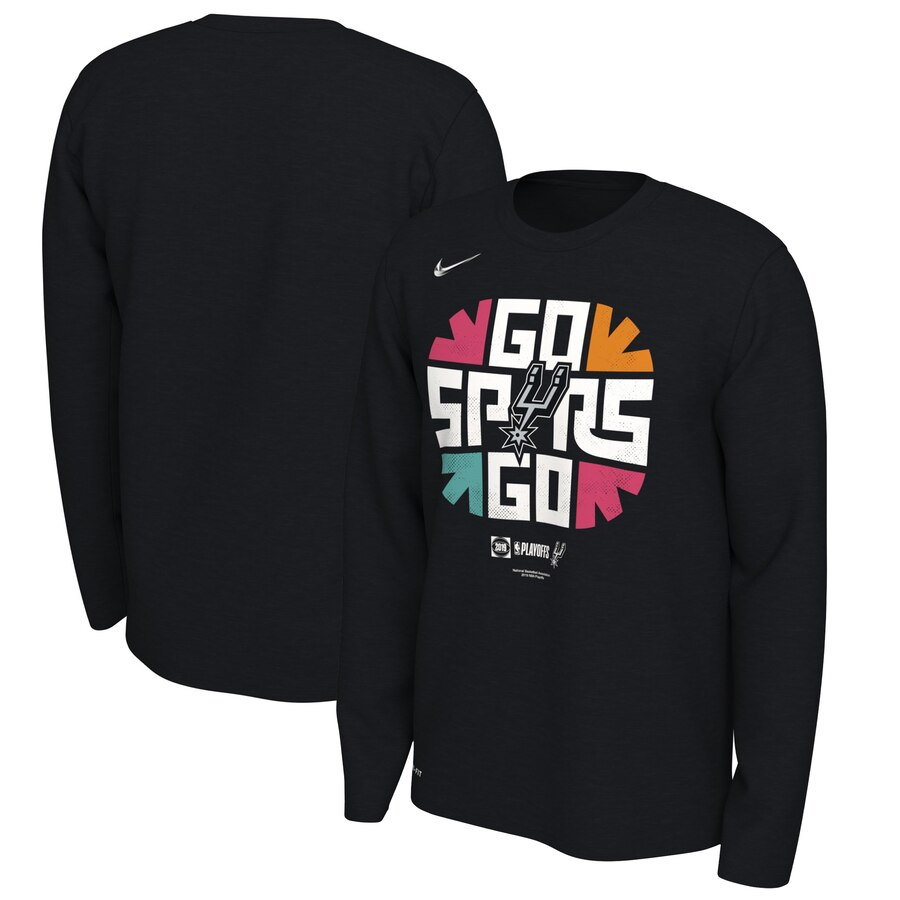 San Antonio Spurs Nike 2019 NBA Playoffs Bound Team Mantra Dri FIT Long Sleeve T-Shirt Black