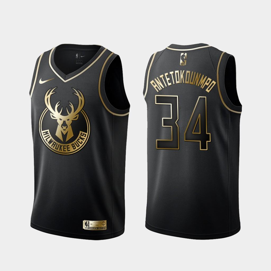 Bucks 34 Giannis Antetokounmpo Black Gold Nike Swingman Jersey