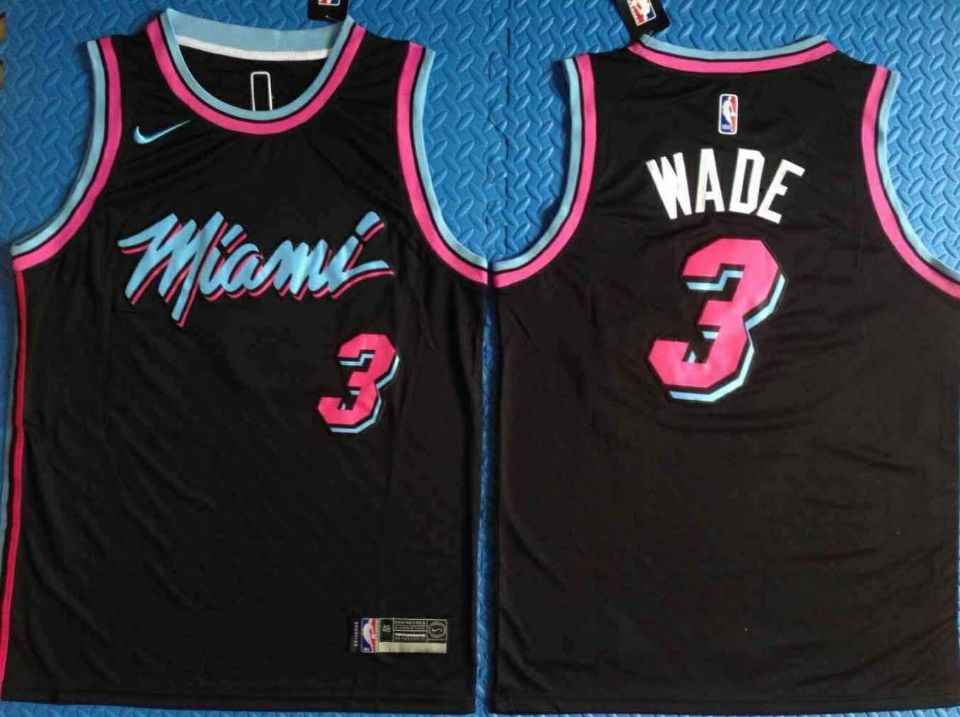 Heat 3 Dwyane Wade Black City Edition Nike Swingman Jersey