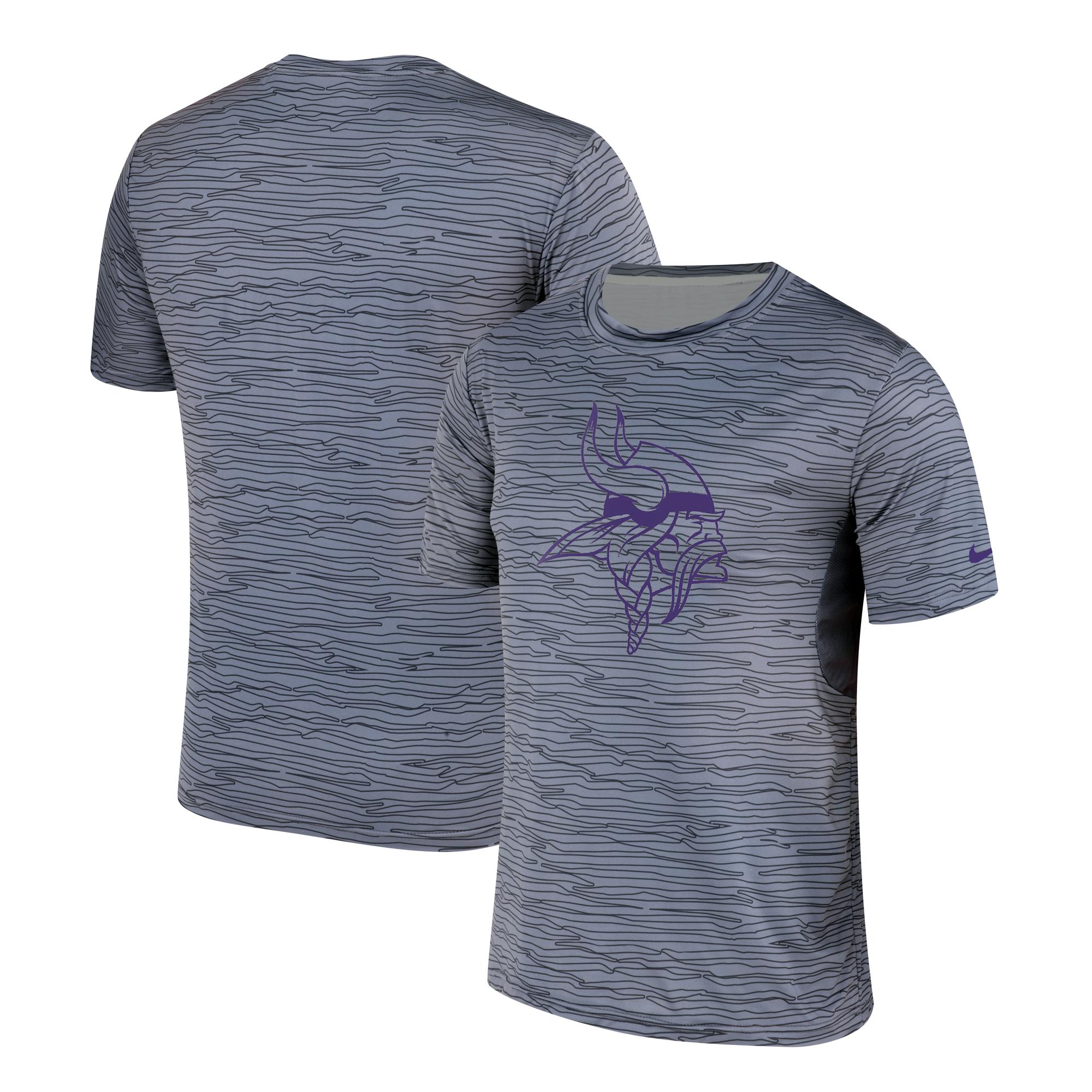 Men's Minnesota Vikings Nike Gray Black Striped Logo Performance T-Shirt