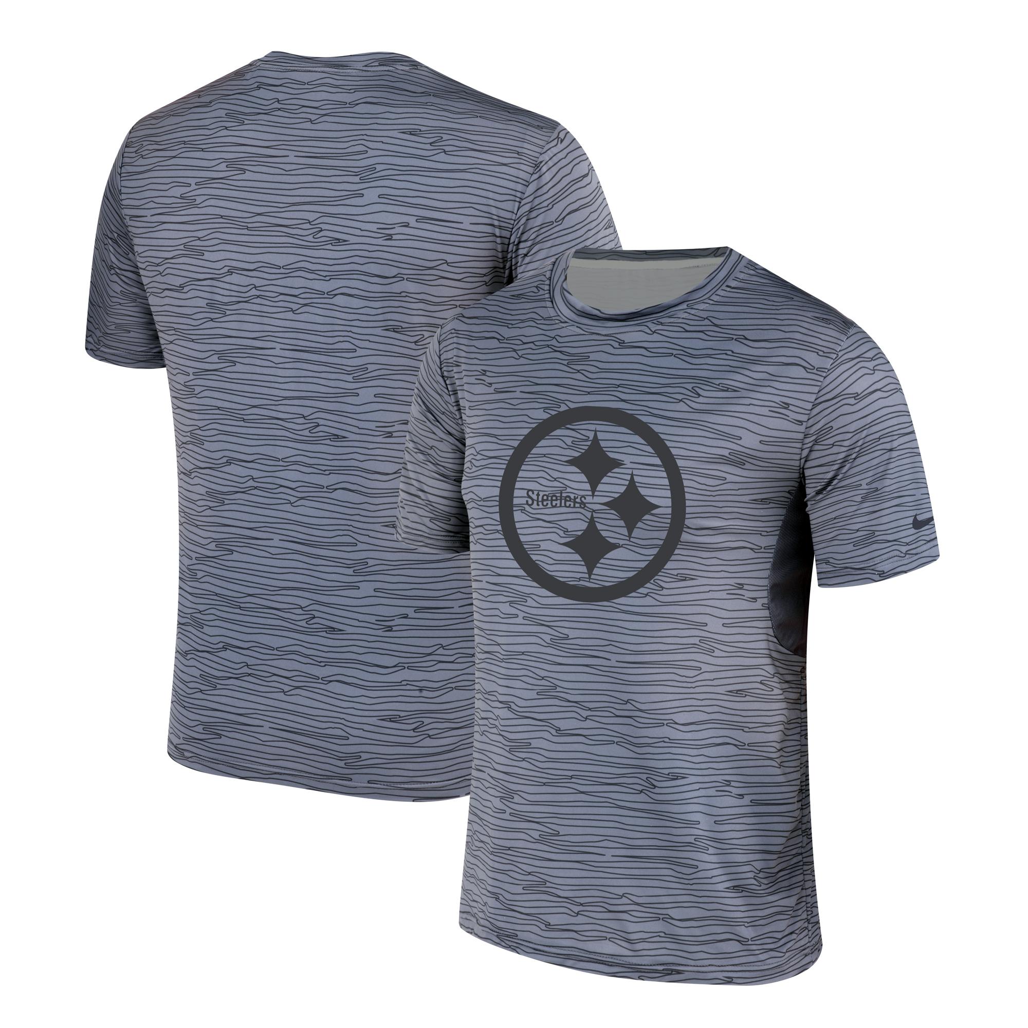 Men's Pittsburgh Steelers Nike Gray Black Striped Logo Performance T-Shirt