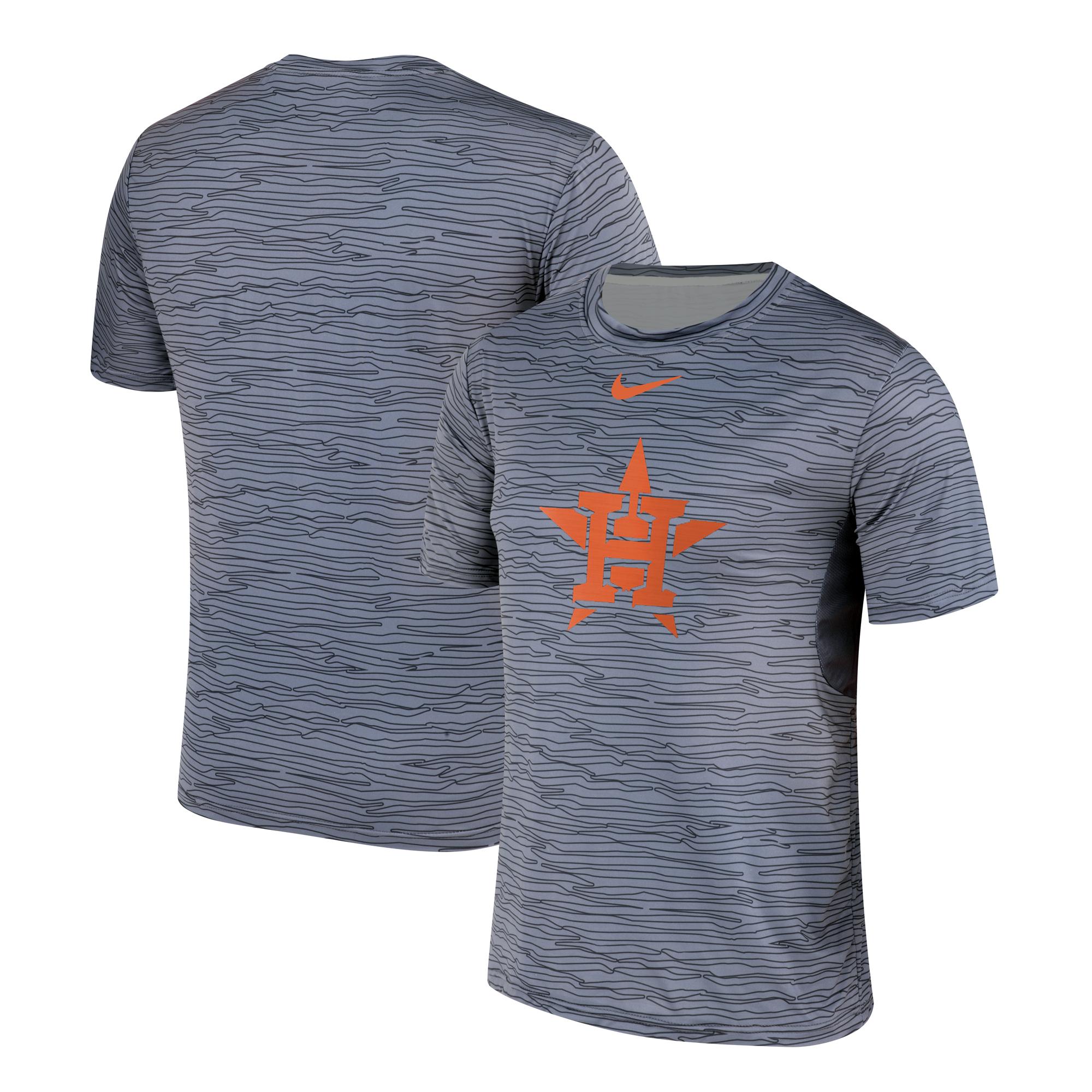 Nike Houston Astros Gray Black Striped Logo Performance T-Shirt