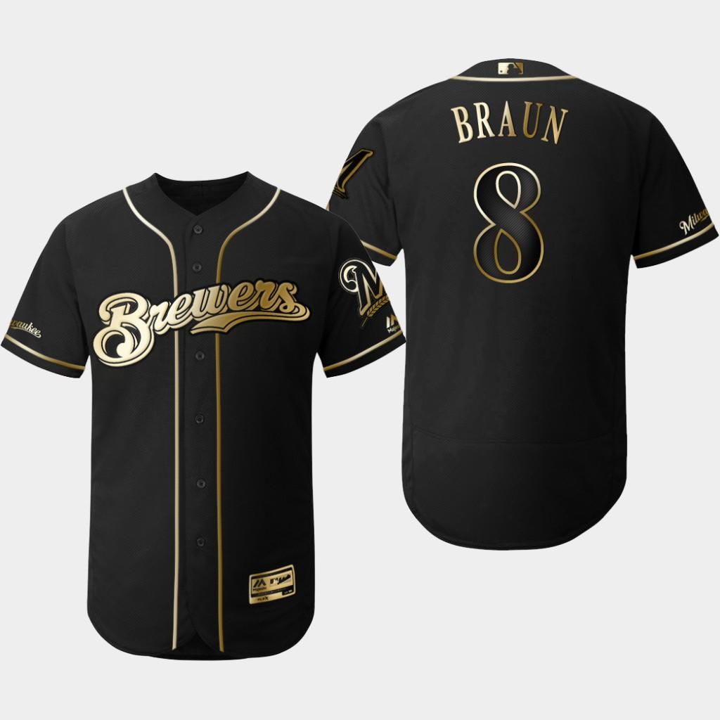 Brewers 8 Ryan Braun Black Gold Flexbase Jersey