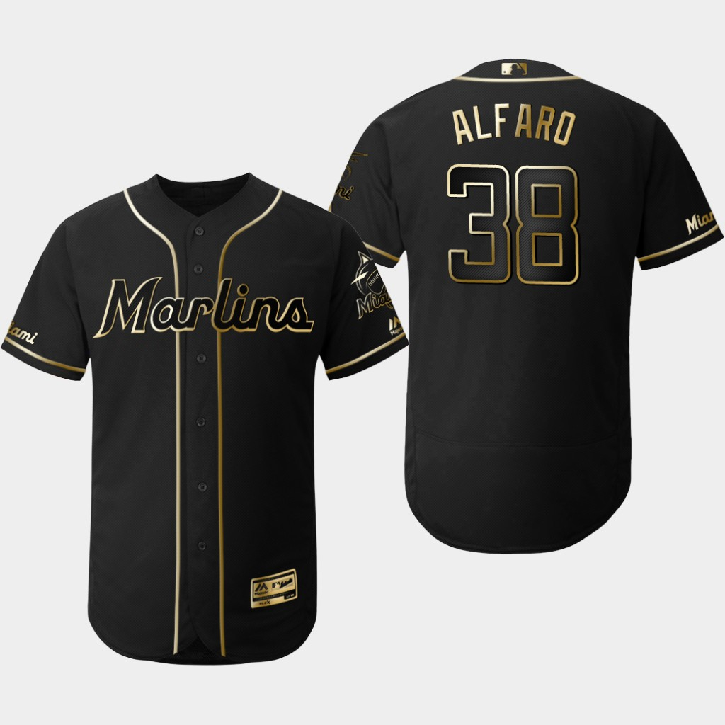Marlins 38 Jorge Alfaro Black Gold Flexbase Jersey