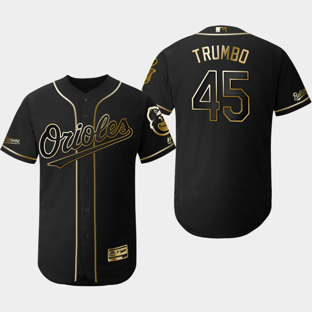 Orioles 45 Mark Trumbo Black Gold Flexbase Jersey
