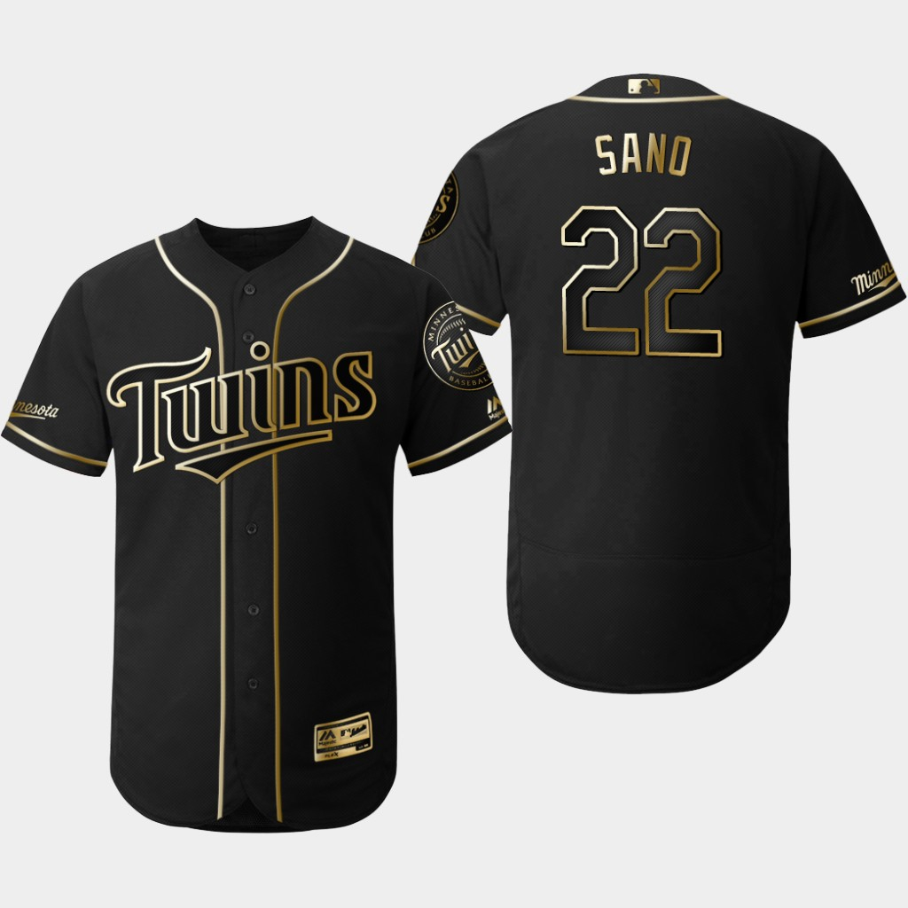 Twins 22 Miguel Sano Black Gold Flexbase Jersey